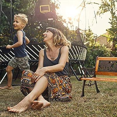 Outdoor Kids Garden Bench Park Metal Aluminum and Wood Benches for Patio Yard : Garden & Outdoor