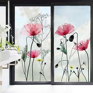 Decalmile Wandtattoo Mohnblume Glasdekorfolie Blumen Fensteraufkleber Wohnzimmer Schlafzimmer Badezimmer Wanddeko Amazon De Kuche Haushalt