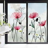 decalmile Pegatinas de Pared Flor de Amapola Vinilo Adhesivo para Cristal Flores Vinilo Ventana Dormitorio Sala Oficina…