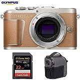 Olympus V205090NU000 PEN E-PL9 16.1 MP Wi-Fi 4K Mirrorless Camera Body (Honey Brown) w/Sandisk 32GB Extreme PRO SDXC UHS-1 Memory Card + Tamrac Tradewind 2.6 Shoulder Bag (Dark Gray)