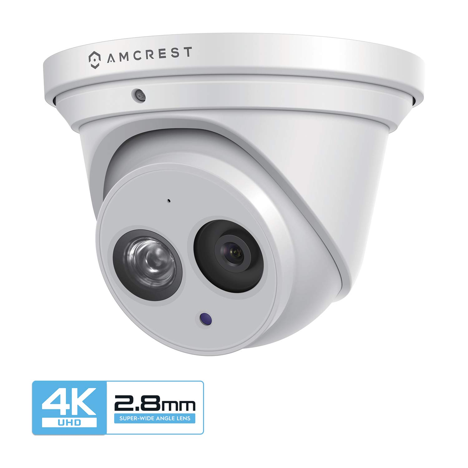 Amcrest UltraHD 4K 8MP Outdoor Security IP Turret PoE Camera, 3840×2160, 164ft NightVision, 2.8mm Lens, IP67 Weatherproof, MicroSD Recording 128GB , White IP8M-T2499EW