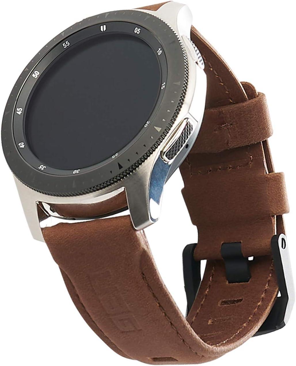 Urban Armor Gear Leder Strap Armband Samsung Galaxy Watch3 45mm Watch 46 Mm Gear S3 Frontier Classic Watch Active 2 44 Mm Designed Für Samsung Smartwatches Ersatzband Aus Leder Braun Elektronik