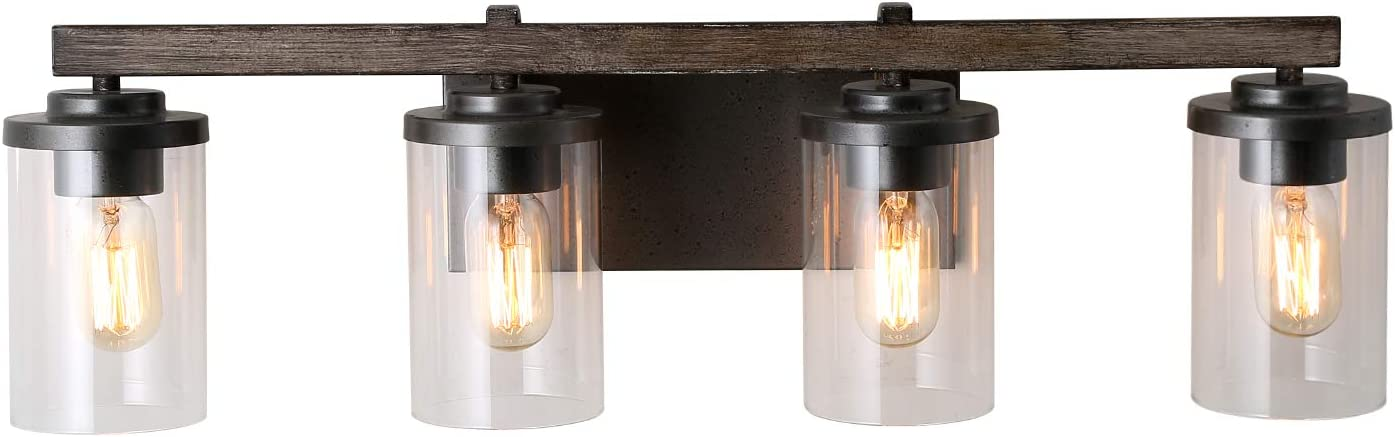 LALUZ 4-Light Rustic Vanity Lighting Bathroom Wall Light with Clear Glass, Faux Wood, 30 Inches
