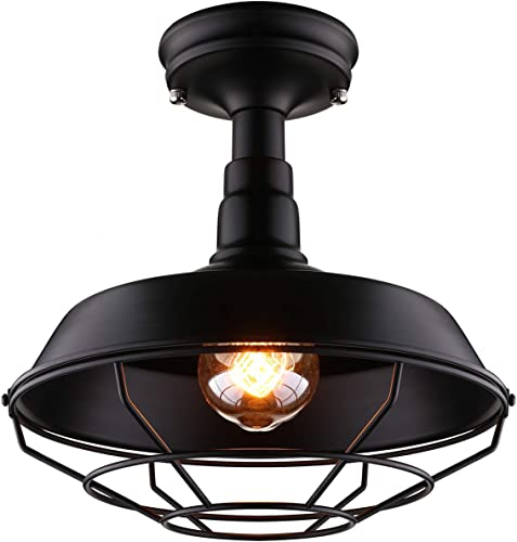 Industrial Simple Wrought Iron Wire Cage Semi Flush Mount Ceiling Light – LITFAD 10 Vintage LED Ceiling Lamp Pendant Lamp Edison Semi Flush Mounted Pendant Light in Black for Kitchen Island Farmhouse