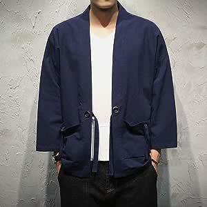 ZXIU Camisas De Hombre Kimono Camisa De Puntada Abierta Cinturón De Bolsillo Camisa De Manga Tres Cuartos Masculina: Amazon.es: Deportes y aire libre