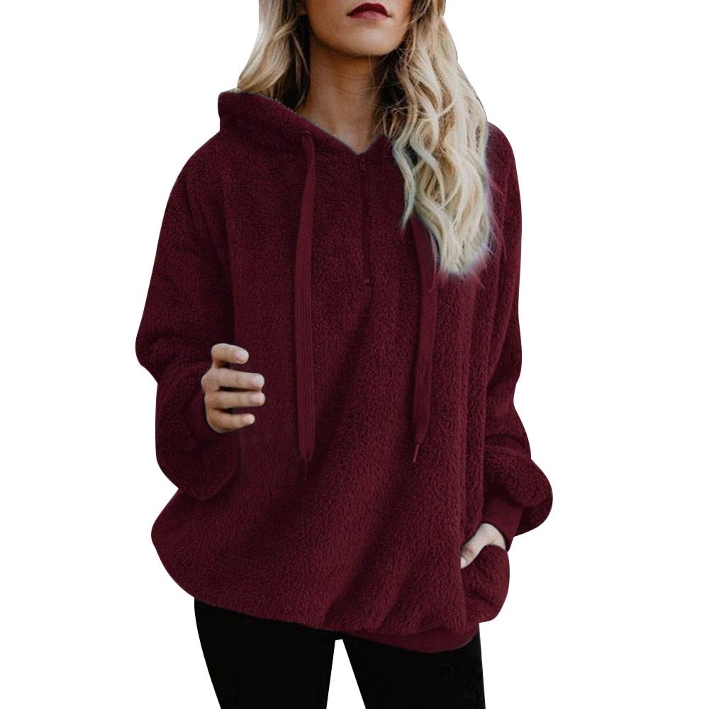 vermers Clearance Deals Women Warm Fluffy Winter Coat Hoodie Tops, Ladies Hooded Sweatshirt Pullover Jumper Clothes(L, Wine Red)