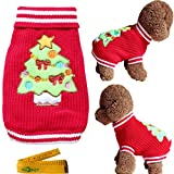 Christmas Pet Dog Cat Sweater Turtleneck Knitted Knitwear Outerwear with Collar for Dogs & Cats (Christmas Tree, M) For Sale