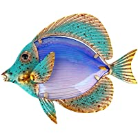Liffy Metal Fish Wall Art Outdoor Decor Glass Garden Decoration Colorful