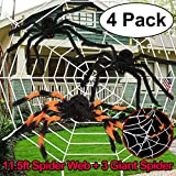 Halloween Decorations Giant Stretch Spider Web + 3 Spider Large Pack for Outdoor Windows Garden Bushes Spooky Scary Theme Party Favor Supply Mischievous Haunted House Yard Bar Hanging Ghost Props