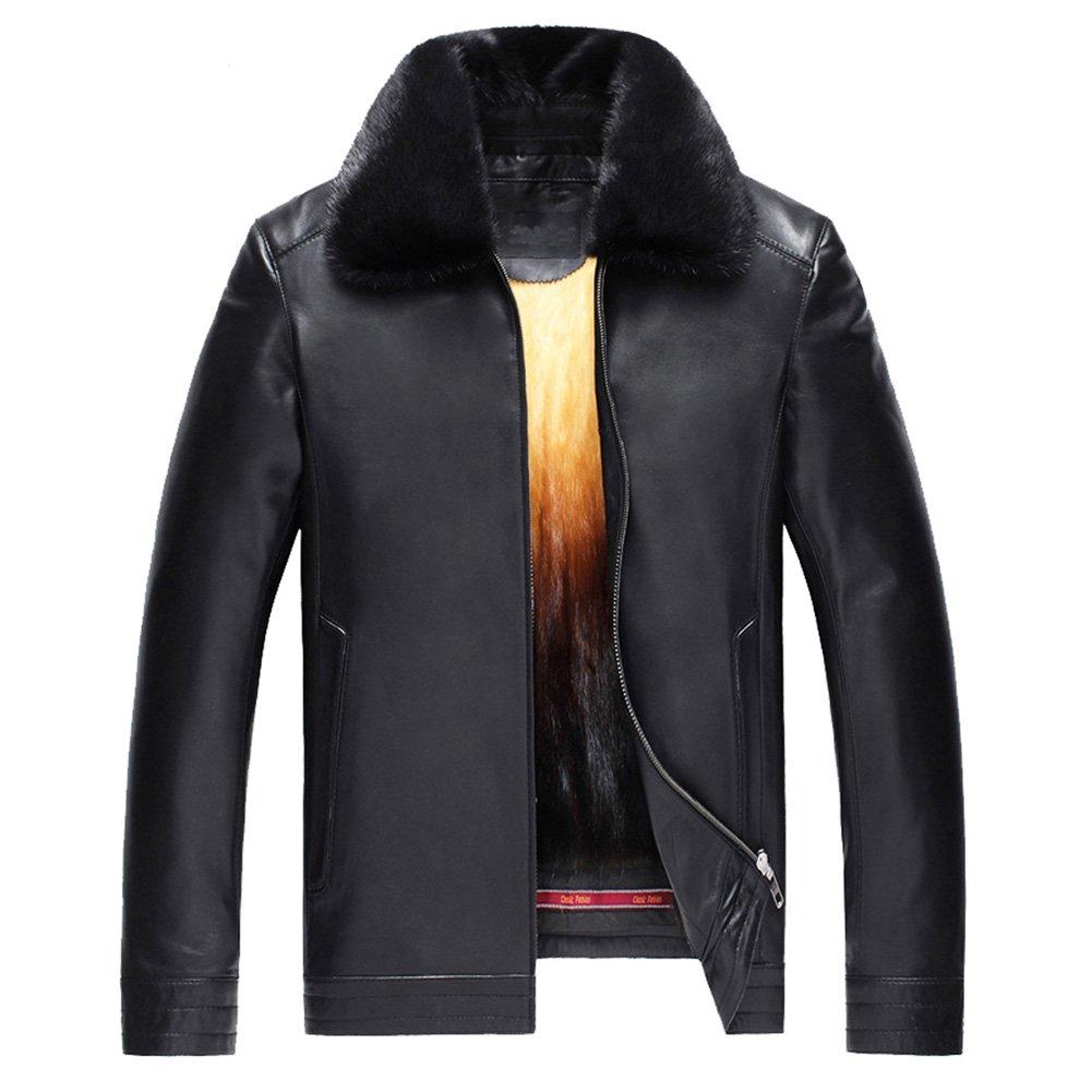 Men's Mink Fur Lined Lambskin Jacket Men's Removable Mink Fur Lined Leather Coat Sheepskin Short Outwear TJ26 (XL, Black-Turn Down Collar)