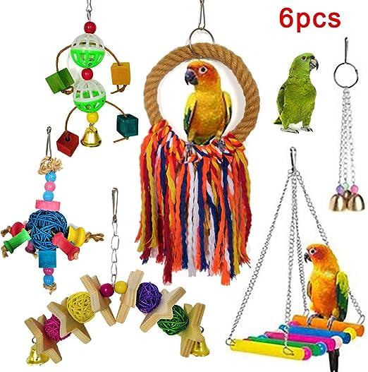 Danigrefinb Juguete para pájaros, 6 Unidades, Cuerda para Colgar, Escalera para Jugar a Masticar, Juguetes de Madera, Metal y Cuerda de algodón y plástico: Amazon.es: Productos para mascotas