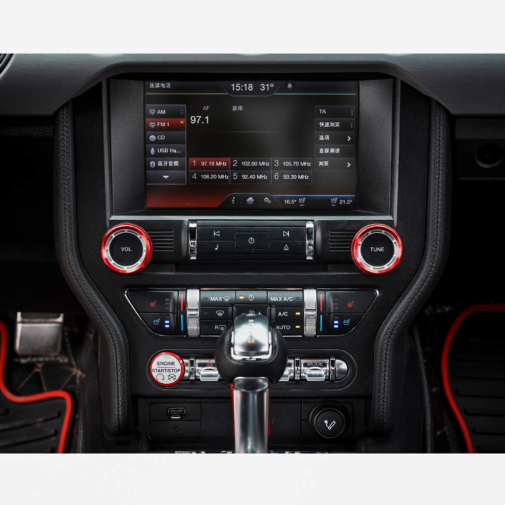 Thenice for Ford Mustang 2015 2016 2017 2018 Interior Voice Volume Control Tune Knob Switch Cover Decoration Ring Trim Red