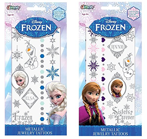 Disney Frozen Elsa and Anna Metallic Jewelry Tattoo Combo Pack! (Disney Frozen Tattoos)