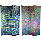 Oriental Furniture 6 ft. Tall Double Sided Works of Monet Canvas Room Divider – Water Lily/Garden