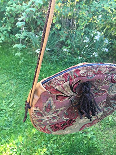 Round tambourine shoulder bag in tapestry and leather