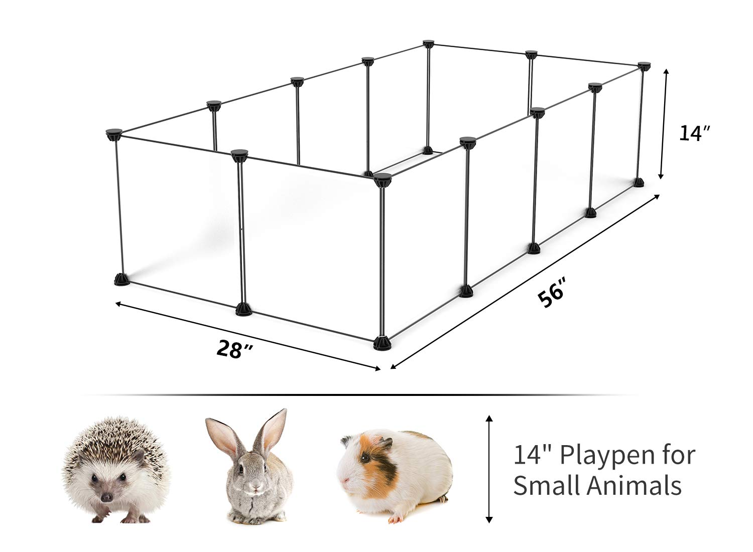 Small Animal Cage Indoor Portable Metal Wire Yard Fence for Small Animals 12 Panels Frosted White Black Tespo Pet Playpen Guinea Pigs Rabbits Kennel Crate Fence Tent
