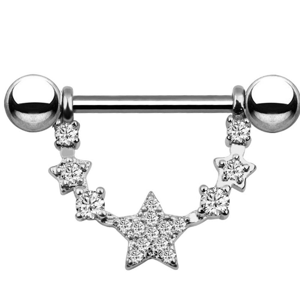 Fenical Acciaio inossidabile chirurgico capezzoli anelli di cristallo bling bilancieri capezzoli cerchio piercing gioielli per le donne ragazze (argento) 7O0443P198
