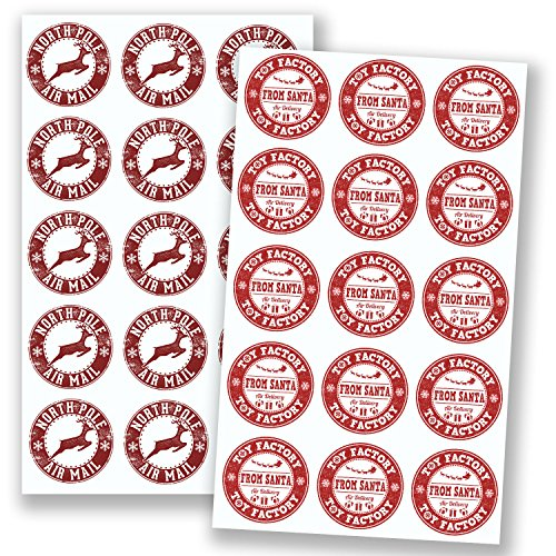 2 x A4 Sheets — North Pole Air Mail & Santa Toy Factory Christmas Stickers