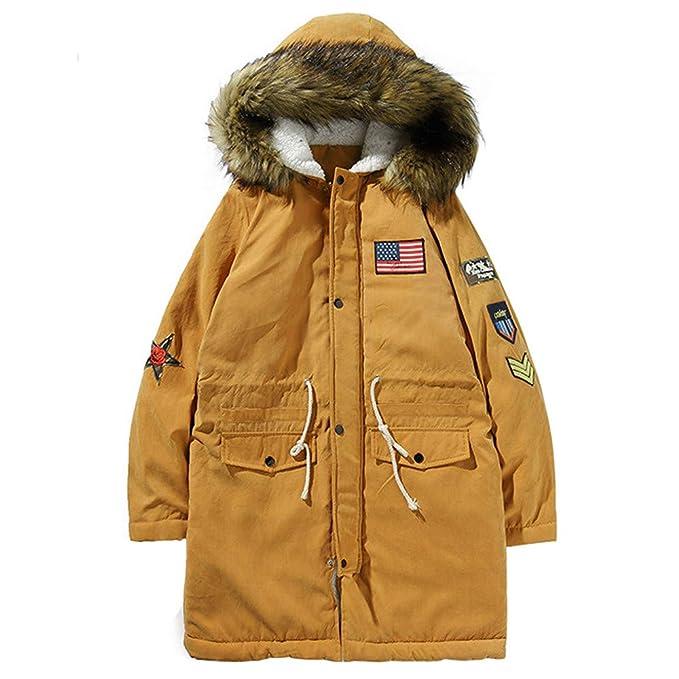 ♚ Abrigo cálido de algodón para Hombre, Chaqueta de Manga Larga de Invierno para Hombre con Capucha y Bolsillo Engrosado Camisa de Abrigo Superior ...