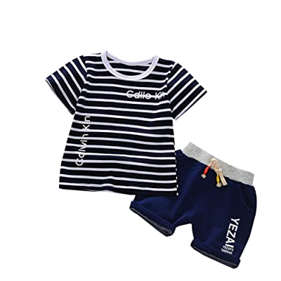 ed91f2d9ad77 BAOBAOLAI Baby Boys Outfits Short Sleeve Striped Shirt With Shorts Children  Cotton 2PCs