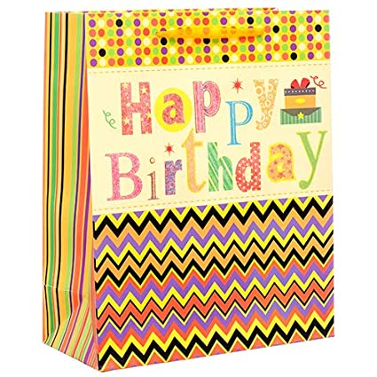Amazon Dollaritem New 378474 Gift Bag Happy Birthday W Glitter