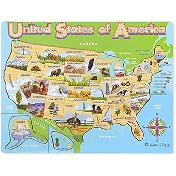 Amazoncom Melissa Doug USA Map Wooden Puzzle Pcs Melissa - United states map jigsaw puzzle online