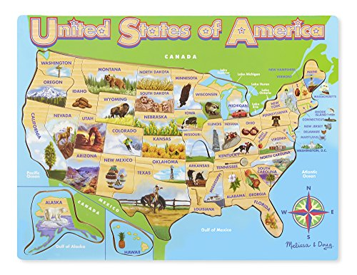 Melissa & Doug USA Map Wooden Jigsaw Puzzle (45 pcs)