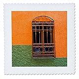 3dRose Danita Delimont - Architecture - Mexico, Guanajuato, Ornate window in a colorful back alley - 20x20 inch quilt square (qs_278308_8)