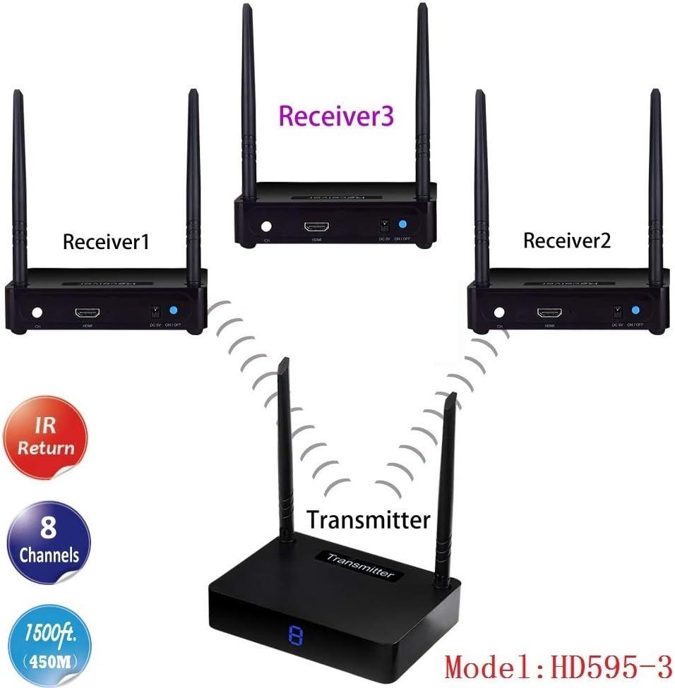 Measy HD585-3 1x3 El transmisor y el Receptor de Audio y Video HDMI inalámbrico admite hasta 350 m con la función de Retorno IR y 8 Canales para Elegir (Incluido 1 transmisor +3 receptores)