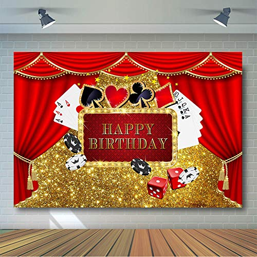 COMOPHOTO Casino Theme Birthday Backdrop Adult Birthday Party Golden Photo Background 7x5ft Vinyl Roulette Wheel Chips Red Curtain Poker Decoration Banner Casino Photography Backdrops ()