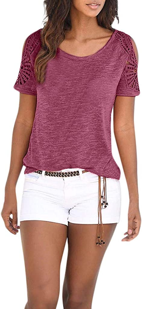 Short Sleeve Summer Casual Bohemian Round Neck Lace Patchwork Tops Pullovers Tees T-Shirts UOKNICE BLOUSE for Womens