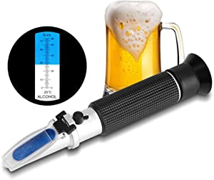Oumij Alcohol Refractometer for Spirit Alcohol Volume Percent Measurement with Automatic Temperature Compensation(ATC) Range 0-80% v/v for Home and Factory