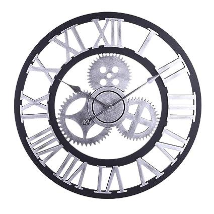 Jo332Bertram Reloj De Pared Vintage, 60cm Gear Relojes de Pared Grande Silencioso para Cocinas,