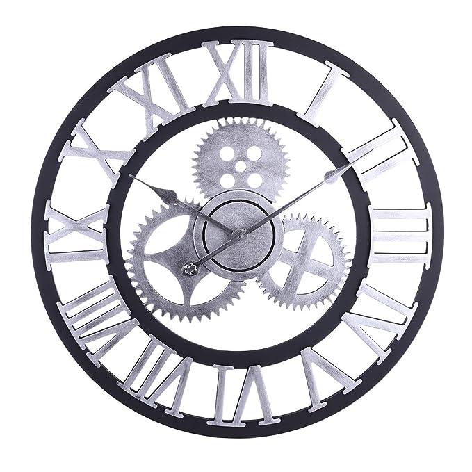 LVPY Horloge Vintage, 60 cm Horloge Pendule Murale Style Vintage  Décorations et Décorative Bois pour Salon, Salle, Chambre, Bureau - Argent   Amazon.fr  ... d9535ffac9e2
