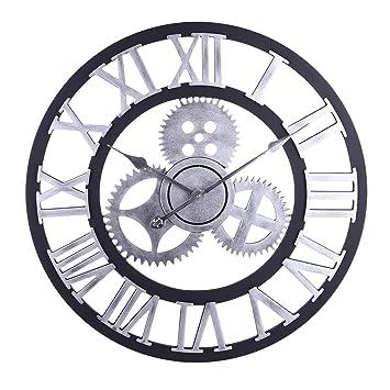 Winnian Reloj de Pared Grande Numeros Romanos - 60cm Relojes de Pared Vintage con Engranaje- Reloj de Pared Modernos Silencioso de Madera - Plata: ...