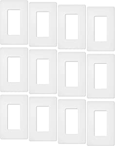 12 Pack - ELECTECK Screwless Wall Plate, 1-Gang Standard Size Decorative Outlet Cover / Switch Cover, Polycarbonate Thermoplastic, White