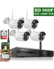【2019 Nuevo】Sistema de Cámara CCTV Inalámbrica, Cámara de Seguridad Interior/Exterior, IP Cámaras de Visión Nocturna, 1080P NVR 4 960P IP Cámara para Detección de Movimiento/Acceso Remoto con 1TB HDD