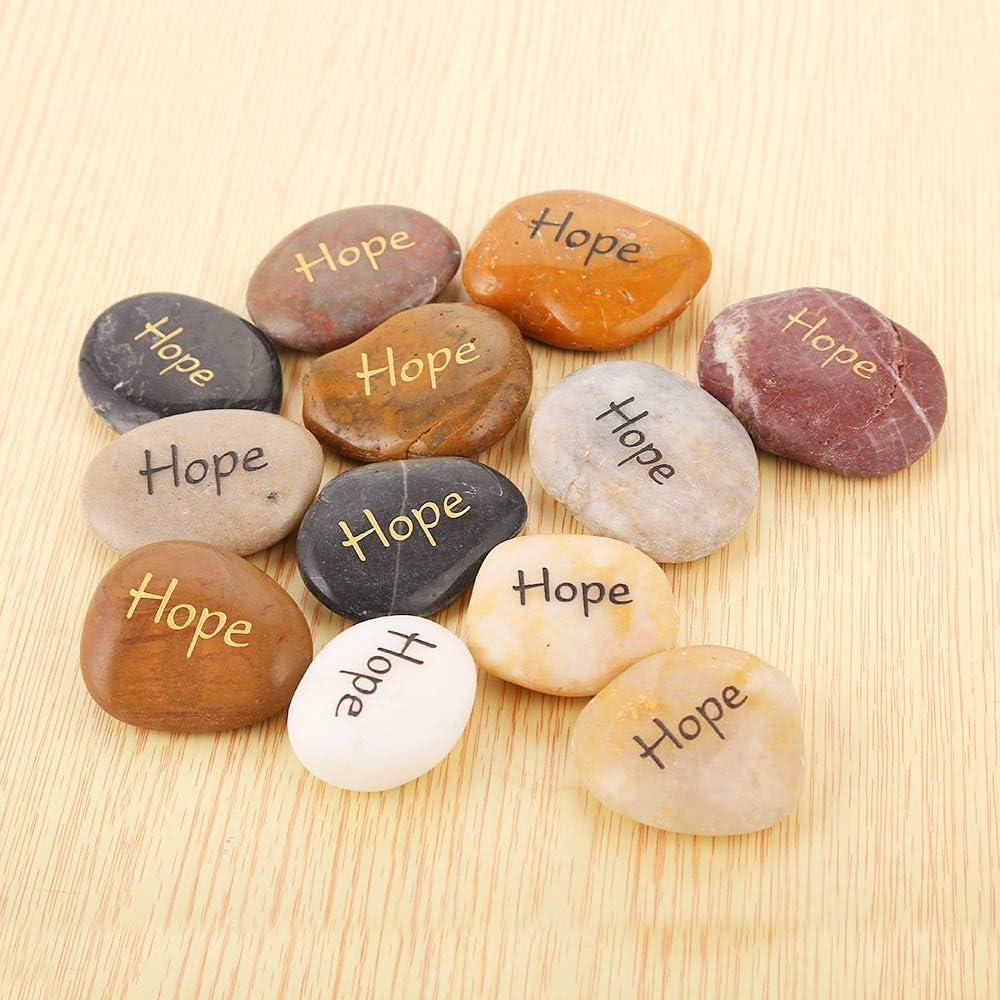 RockImpact 12PCS Hope Stones Engraved Inspirational Stones Positive Stone Tumble Stones Palm Stones Reiki Chakra Recovery Stones Gratitude Sobriety Gift Balancing Word Stone Bulk Lot Hope Rocks