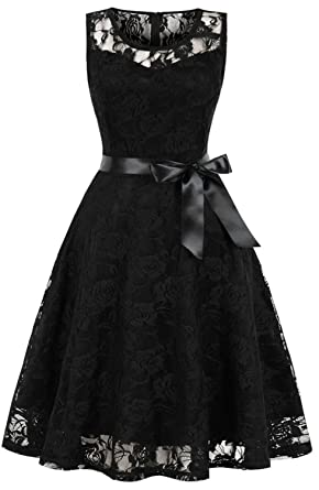 Review TINTAO Womens Vintage Lace Party Dress Sleeveless Short Prom Evening Dresses D114