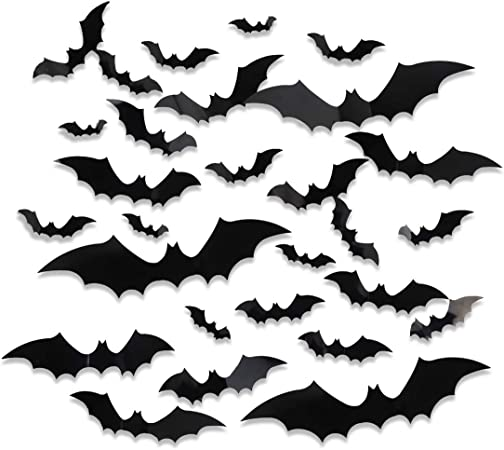 Many 3D Bats Sticker Halloween Bat Wall Decals Stickers Window Doors Decors