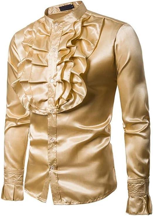 QJXSAN Camisa de Hombre Manga Larga Color Sólido Volantes Cuello Alto Delgado Fiesta Club Retro Traje Moda Casual (Color : Yellow, Size : L): Amazon.es: Hogar