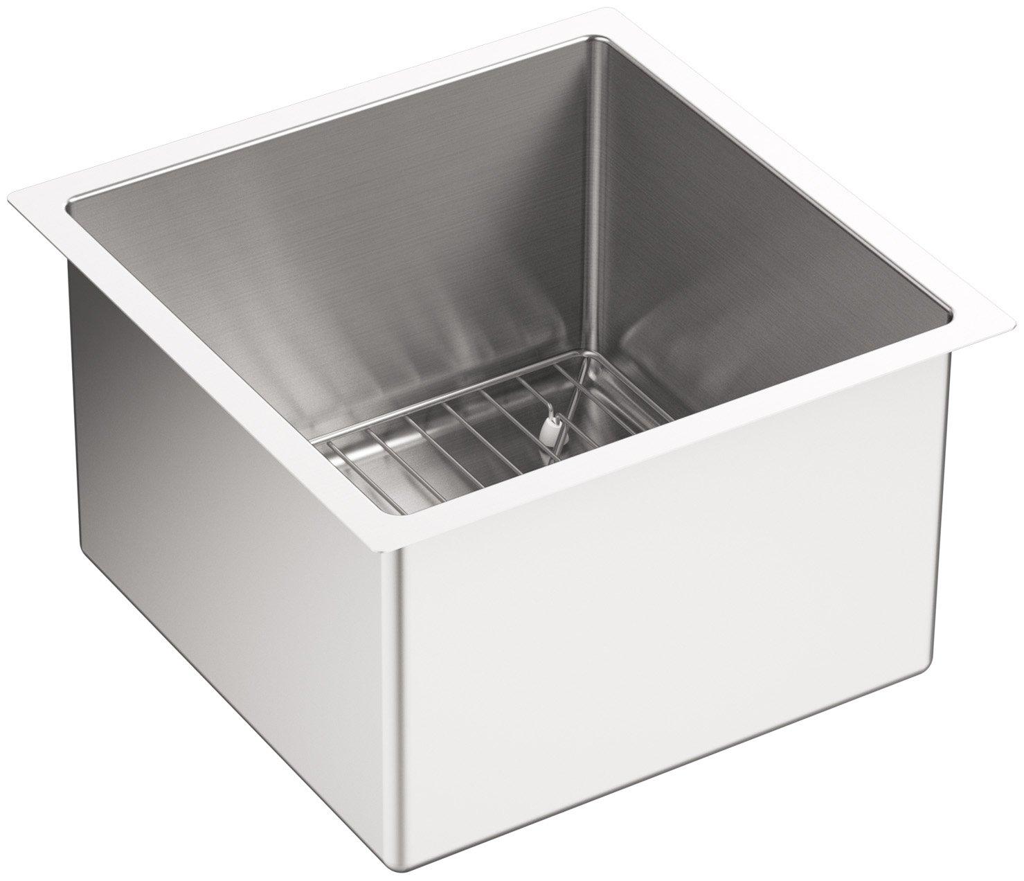 kohler kna strive  x inch undermount bar sink with  - kohler kna strive  x inch undermount bar sink with basin rackstainless steel pack   amazoncom
