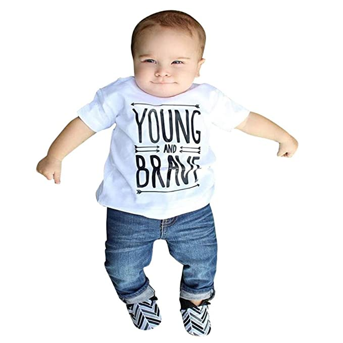 3820e2142 Amazon.com  Pollyhb Toddler Kids Baby Boys Clothes Letter T-Shirts ...