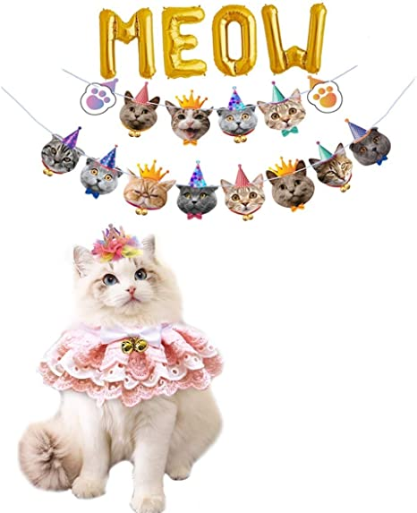 perfect to decorated your cat garland Supplies theme birthday party! Kitten happy birthday ribbon banner