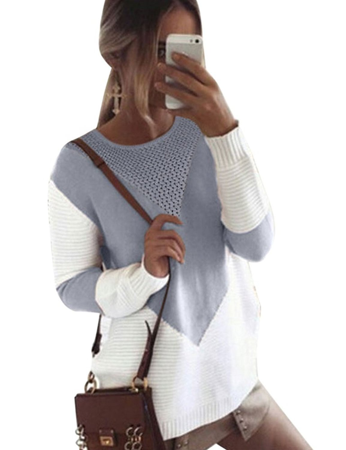 shermie Women Long Sleeve Crew Neck Pullovers Stitching Color Loose Knitted Sweaters (Medium, Gray)
