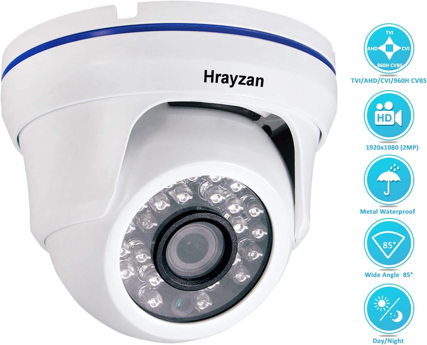 1080P Dome CCTV Camera, Hrayzan 1920TVL 2MP HD Security Camera, Hybrid 4 in 1 TVI/CVI/AHD/CVBS Analog, IP66 Waterproof Indoor Outdoor Wired Surveillance Camera with 65ft Day Night Vision IR(White)