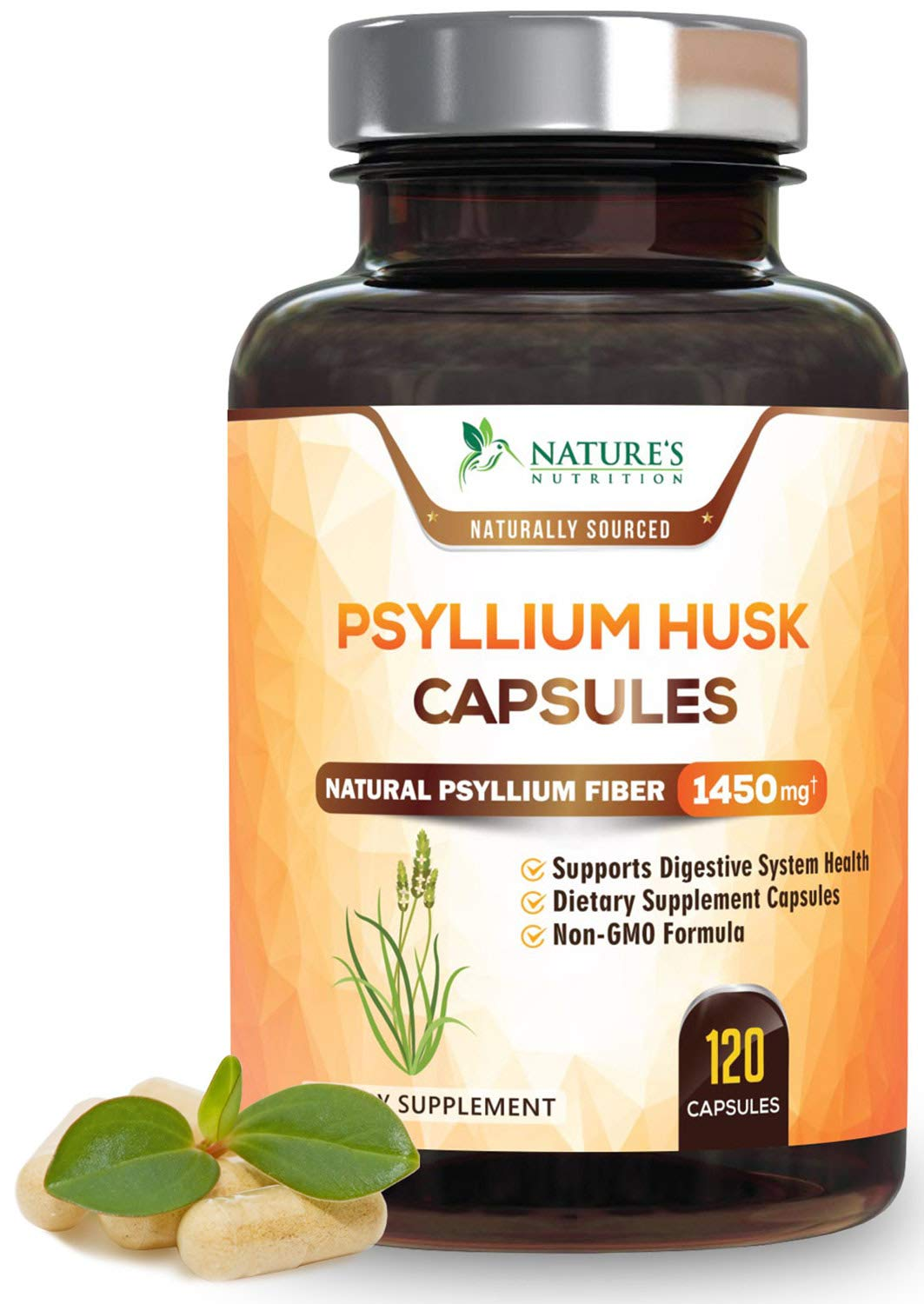 Psyllium Husk Capsules, Highest Potency Dietary Fiber 1450mg - Psyllium Powder Supplement, 100% Soluble Pills, Helps Constipation, Digestion, Intestinal Health and Natural Weight Loss - 120 Capsules by Nature's Nutrition