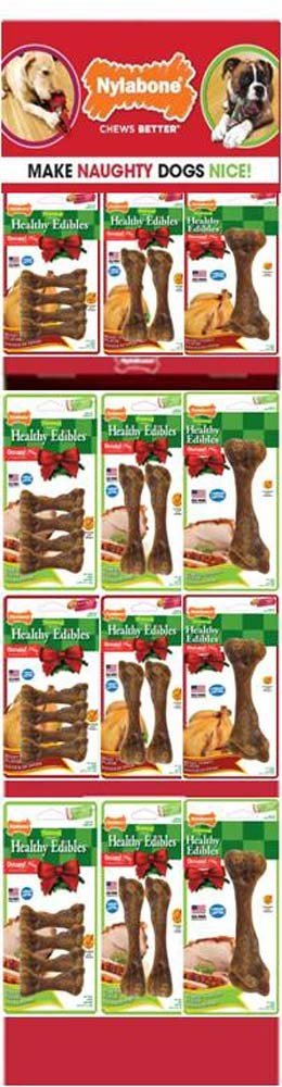 Nylabone ND838 61 Piece Holiday Chew Toys Pre-Pack Display