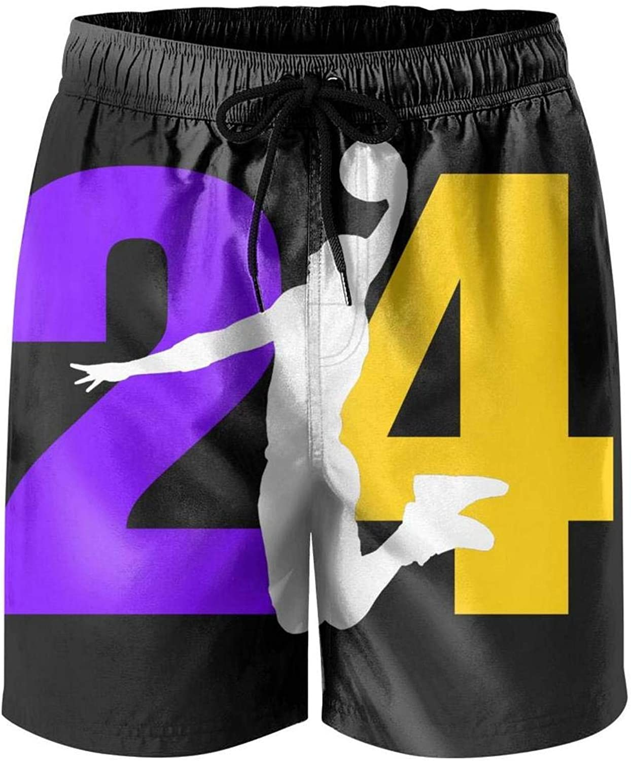 FPFLY Men's Board Shorts MVP-24-Basketball-Player- Quick Dry Bathing Suits Mesh Lining Beach Board Shorts