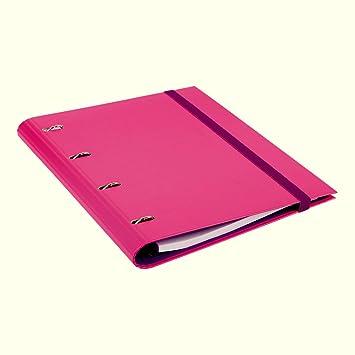 Carpeta Frost de 4 anillas con goma y recambio de 80 hojas A5 rosa: Amazon.es: Oficina y papelería